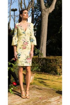 Wrap Dress, Cold Shoulder Dress, Dresses, Color, Fashion, Patterned Dress, Shopping, Bell Sleeves, Yellow