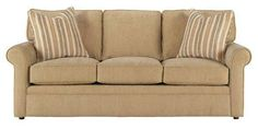 The Kyle convertible fabric sleeper sofa from Club Furniture comes with custom upholstery, rolled arms and a Queen size mattress inside. Club Furniture, Belfort Furniture, Furniture Ideas, Queen Sofa Sleeper, Sleeper Sofas, Mattress Dimensions, Sofa Set Designs, Upholstered Furniture, Fabric Sofa