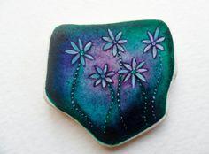 Dark little daisies  Miniature art on Scottish sea pottery by Alienstoatdesigns on Etsy, $15.00