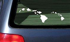 Hawaiian Island Chain Vinyl Sticker - White