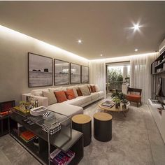 Home theaters minimalista Fernanda Marques Living Room Home Theater, Interior Design Kitchen, Interior Design Living Room, Living Room Designs, Living Room Decor, Bedroom Decor, Bedroom False Ceiling Design, Style At Home, Decoration
