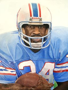 Michael Pattison   WATERCOLOR    Earl Campbell