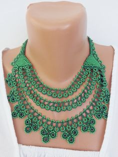 green collar  necklace, turkish oya necklace, beaded crochet necklace, bead crochet necklace, flower necklace
