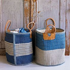 sisal baskets with leather handles