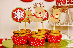 Rudolph the Red-Nosed Reindeer Christmas Party decorations by Pinwheel Lane on etsy