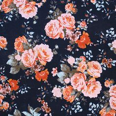 "Pink Coral Roses on Midnight Blue Cotton Jersey Blend Knit Fabric - Lovely muted color roses in pink, orange, and coral on a deep midnight navy blue color background cotton jersey rayon blend knit.  Fabric is light to mid weight, with a nice stretch,  and soft fluid drape. Largest rose measures 2 3/4"" (see image for scale). A versatile fabric that is great for many uses!  ::  $6.25"