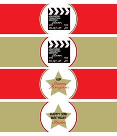 Hollywood Party water bottle wrapper print your by APartyStudio, $7.00