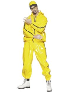 Buy this men's Ali G yellow rapper fancy dress costume online. This adult's yellow rapper costume by Smiffys is perfect for your next TV character fancy dress costume. This men's rapper costume is in stock for express delivery Australia wide. Ali G Costumes, Funny Costumes, Cool Costumes, Adult Costumes, Carnival Costumes, Halloween Costumes, Cheap Fancy Dress, 90s Fancy Dress, Yellow Tracksuit