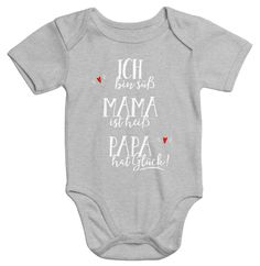 body-bebe-a-manches-courtes-je-suis-mignon-maman-a-chaud-papa-a-de-la-chance-en-coton-bio/ - The world's most private search engine Quilt Baby, Baby Shirts, Onesies, Plotter Silhouette Cameo, Coton Bio, Textiles, Baby Kind, Baby Boy Fashion, Happy Baby