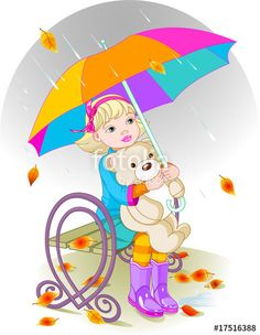 """""""Little girl and Teddy Bear"""" Stock image and royalty-free vector files on Fotolia.com - Pic 17516388"""