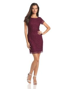 laundry BY SHELLI SEGAL Women's Petite Cap Sleeve Lace Dress with Key Hole Back