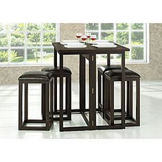 Collapsible pub table and chairs  Table Dimensions: 35.75 inches high x 39.5 inches wide x 31.6 inches deep Stool Dimensions: 24.5 inches high x 14.2 inches wide x 14.2 inches deep