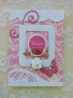 """Card by Vickie Blakeslee. Anna Griffin papers, dies and embossing folders used w/Cuttlebug machine. Marianne """"Anja"""" die also used as well as MS butterfly punch."""