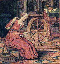Woman spinning on a great wheel turned by a crank. MS 17, Musee Dobree, Nantes France 1500s