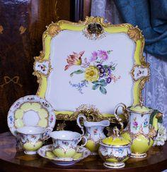 """Lemon Meringue""  Old Meissen Porcelain Tray and Tea for Two."