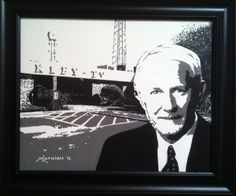 """""""Mike Barras"""" VP/ GM KLFY10 - Custom hand painted 16""""x20"""" black & white acrylic portrait on stretched canvas by renowned artist Mike Latiolais. Commemorating over 50 years of service in the broadcast industry. www.ArtByLatiolais.com"""