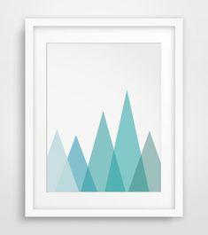 Mountain Print, Sky Blue, Geometric Mountain Wall Art, Geometric Triangle Print, Blue Artwork - $5