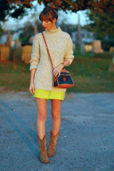 Wearing @hm sweater @J.Crew skirt and vintage dooney and bourke