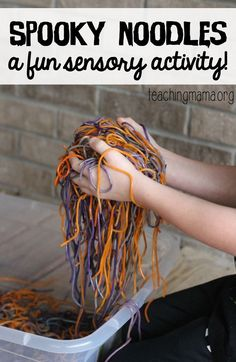 http://teachingmama.org/spooky-noodles-sensory-activity/ - Spooky Noodles Sensory Activity - Here's a super fun sensory activity that's great to do for Halloween or any time of the year! We LOVED playing with these soft, squishy noodles.