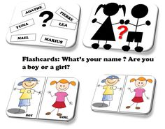 flashcards anglais : what's your name? Are you a boy or a girl?