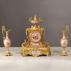 Late 19th Century Gilt-Bronze Mounted Three Piece Pink Sevre Style Clock Set.