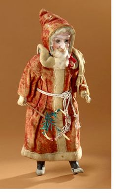 "Victorian ""Walker"" Santa with glass eyes and bisque face"