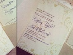 """Hidden Mickey"" Disney inspired wedding invitation created by Thinking Paper"