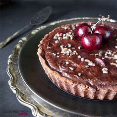 Gluten-Free Vegan Chocolate Black Cherry Tart {Paleo}