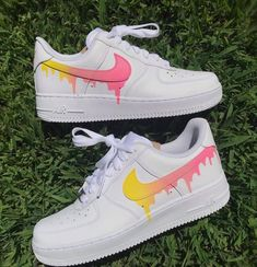 Pastel Yellow 💛+ Pink 💗Drip on Nike Air Forces! Custom Painted Shoes, Custom Shoes, Custom Af1, Painted Canvas Shoes, Zapatillas Nike Air Force, Vans Shoes, Shoes Sneakers, Dsw Shoes, Canvas Sneakers