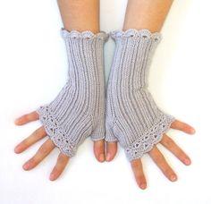 Woman  Fingerless Gloves Lacy Style  Grey by HandMadeInItaly