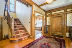 1907 – New Britain, CT – $279,900 | Old House Dreams Victorian Homes Exterior, Historic Homes For Sale, New Britain, Old House Dreams, West End, Atrium, Colonial, Stairs, Interiors
