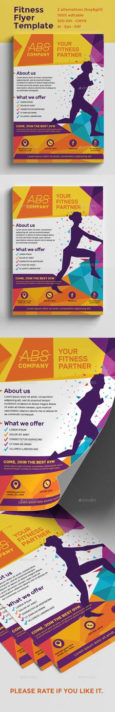 #Fitness #Flyer - Sports #Events Download here: https://graphicriver.net/item/fitness-flyer/14402018?ref=alena994