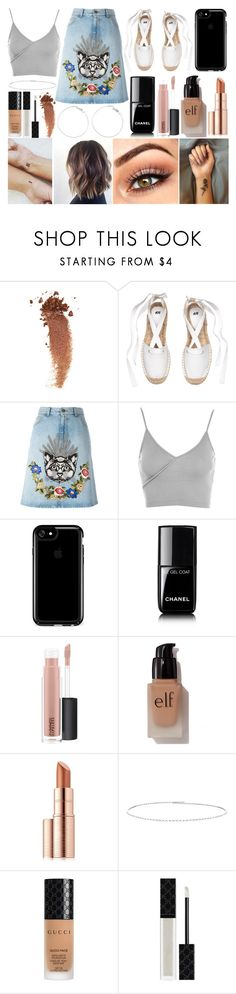 """""""Cafe"""" by susanna-trad on Polyvore featuring Gucci, Topshop, Speck, Chanel, MAC Cosmetics, e.l.f., Estée Lauder and Suzanne Kalan"""