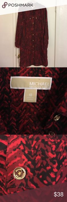 """Michael Kors red shirt dress EUC red patterned Michael Kors shirt dress. In excellent condition but is missing belt. A black or gold belt would be super cute. Great for spring or with tights in the fall. 37"""" long MICHAEL Michael Kors Dresses Long Sleeve"""