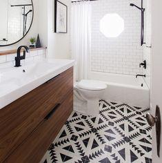 Awesome combiniation: Beautiful tile + Flatsawn Walnut doors.