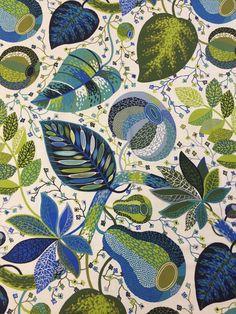 White tablecloth with green and blue leaves, Blue and green Floral Print, modern styl tablecloth by SiKriDream on Etsy
