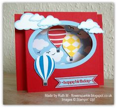 Flower Sparkle: Hot Air Balloons Birthday Shadow Box Card, Choc Chip Ginger Nuts & A Cake