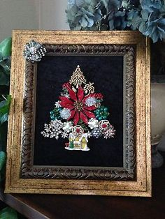 Vintage Jewelry Mosaic Boudoir Glam Framed Rhinestone Crystal Christmas Tree Art | eBay