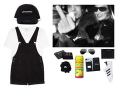 """""""quick trip"""" by wednesday-williams on Polyvore featuring Yves Saint Laurent, Monki, adidas Originals, Ray-Ban, Royce Leather, NARS Cosmetics, StreetStyle and black"""