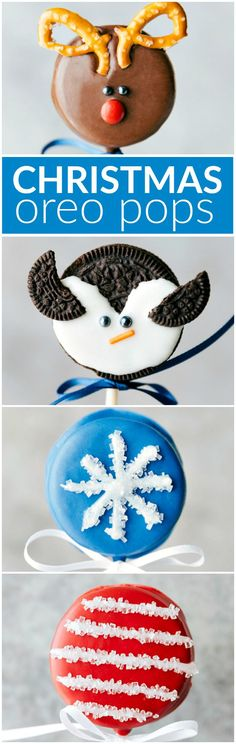 FOUR adorable and easy to make Christmas Oreo Pops! All with FIVE ingredients or less: penguin, snowflake, reindeer, and candy cane. Via chelseasmessyapron.com