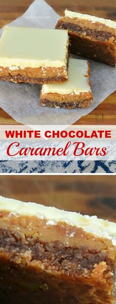 These White Chocolate Caramel Bars have it all ! Oatmeal-Coconut Crust, gooey Caramel, all topped with White Chocolate - totally divine! Chocolate Caramel Slice, Caramel Bars, Caramel Cookies, Chocolate Recipes, White Chocolate Bars, Cocoa Chocolate, Baking Recipes, Cookie Recipes, Dessert Recipes