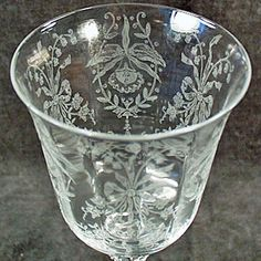 Vintage Heisey Orchid Etch - Wine Goblet - Four Available