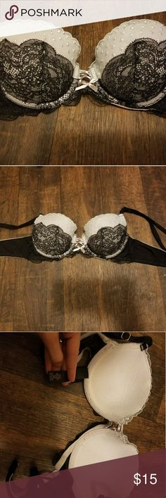 Victorias secret Angel bra Worn a few times. Black and light pink, pink part had white lace over it.  . 34b .  Would trade for a 34 or 32 B or A bra, lingerie, garter. Victoria's Secret Intimates & Sleepwear Bras
