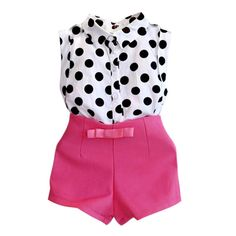 QianQuHui 2017 summer girls clothing sets girl baby clothes polka dot coat + pink pants baby clothing #Affiliate