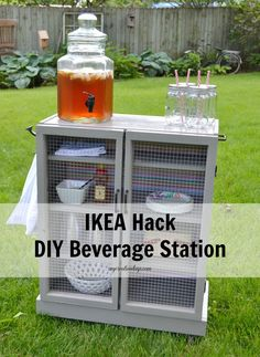 Do you like entertaining outside during the summer months? Check out this Ikea Hack - DIY Beverage Station from mycreativedays.com to hold all your beverages during your party!