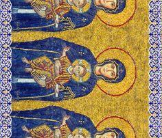 Byzantine Mosaic - Mary with Jesus fabric by bonnie_phantasm on Spoonflower - custom fabric
