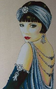 Cross Stitch Chart ART DECO FLAPPER LADY IN BLUE DRESS No.1vb-1b