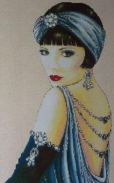 Gráfico de ponto cruz Art Deco FLAPPER Lady No Vestido Azul no.1vb-1b in | eBay