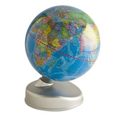 """This """"Earth by Day and Night"""" globe by Waypoint Geographic provides political and social information about countries by day. By night the globe provides a aerial perspective of the city lights as they would appear from out space. Learn about geopolitical boundaries and have an aerial view of the world all in one device !  #aerialperspective #desktopglobes #geography #educationaltools #educationaltoys #astronomy #glowinthedark #school #geopolitical #space"""