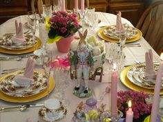 Easter Table Settings Tablescapes with Old Country Roses China by Royal Albert and Fitz and Floyd Rabbit Centerpiece